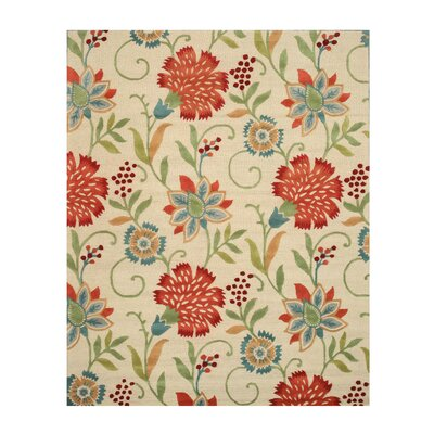 Spring Garden Hand-Tufted Wool Beige Area Rug Rug Size: Rectangle 4 x 6