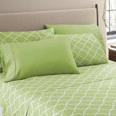 Kimsey Luxe Sheet Set Size: Queen, Color: Sage/White