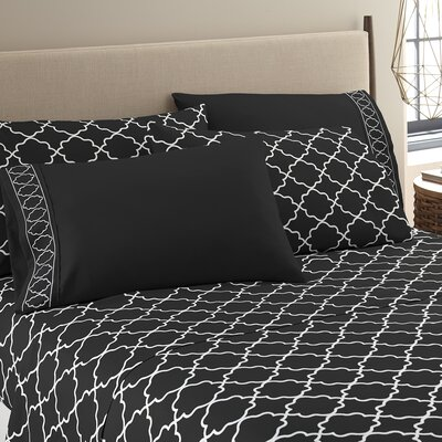 Kimsey Luxe Sheet Set Size: King, Color: Black/White