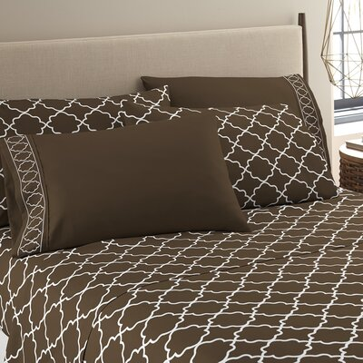Kimsey Luxe Sheet Set Size: Queen, Color: Chocolate/White