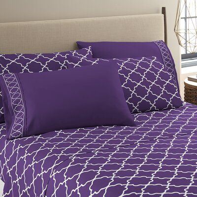 Kimsey Luxe Sheet Set Size: King, Color: Purple/White