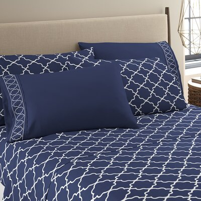 Kimsey Luxe Sheet Set Size: Full, Color: Navy/White