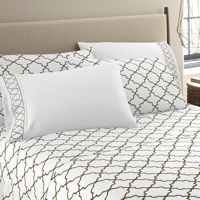 Kimsey Luxe Sheet Set Size: Queen, Color: White/Chocolate