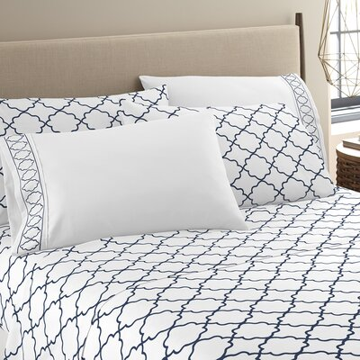 Kimsey Luxe Sheet Set Size: Full, Color: White/Navy
