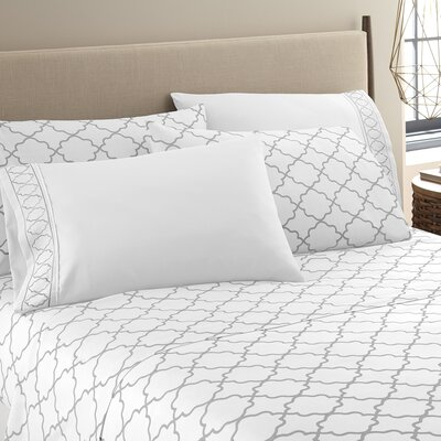 Kimsey Luxe Sheet Set Size: Queen, Color: White/Gray