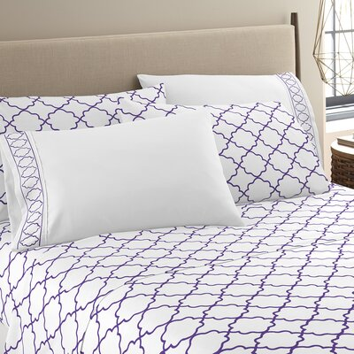 Kimsey Luxe Sheet Set Size: Queen, Color: White/Purple