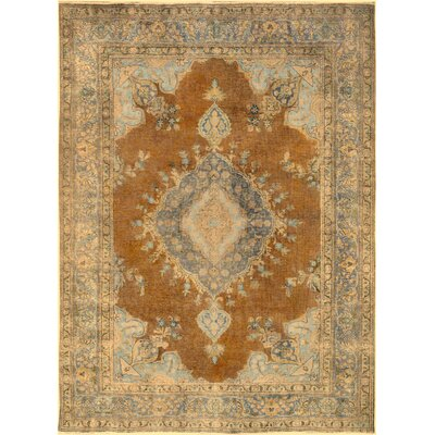 One-of-a-Kind Super Distressed Hand-Knotted Wool Brown/Gray Area Rug