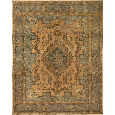 One-of-a-Kind Super Distressed Hand-Knotted Wool Tan/Gray Area Rug