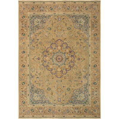One-of-a-Kind Super Distressed Hand-Knotted Wool Tan Area Rug