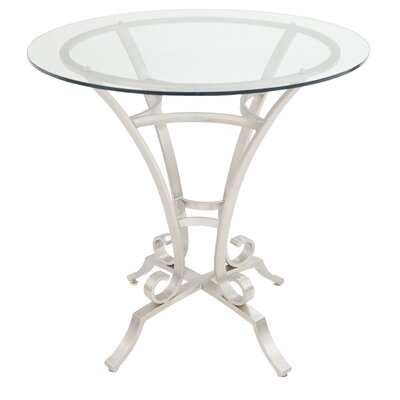 Barnathan Pub Table Color: Brushed Steel/Clear Glass, Size: 40 H x 36 W x 36 D