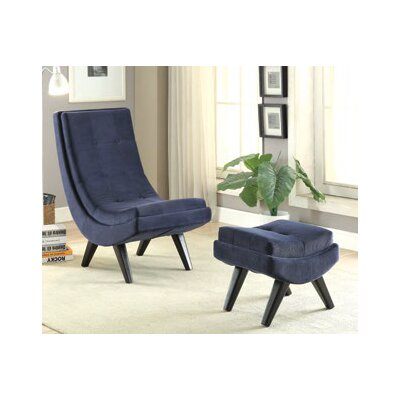 Owensby Lounge Chair and Ottoman Upholstery: Navy Blue