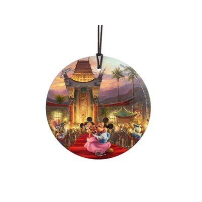 Disney's Mickey and Minnie Mouse in Hollywood Hanging Glass Shaped Ornament SPCIR796