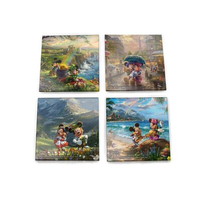 Disney Mickey and Minnie Mouse Tourists Around the World Paris Alps Ireland Hawaii Glass 4 Piece Coaster Set SPCSTR854