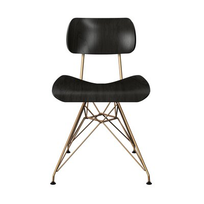 Silvernail Eiffel Dining Chair Color: Black/Brass