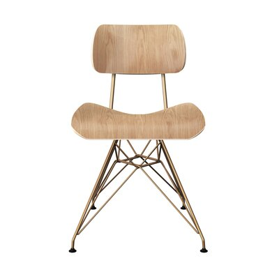 Silvernail Eiffel Dining Chair Color: Natural/Brass