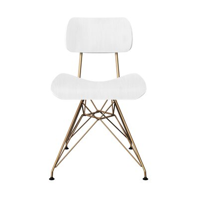 Silvernail Eiffel Dining Chair Color: White/Brass