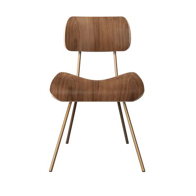 Silvis Classroom Dining Chair Color: Walnut/Brass