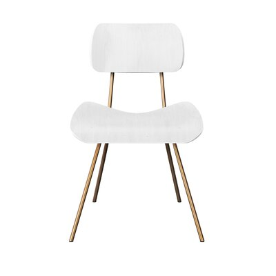 Silvis Classroom Dining Chair Color: White/Brass