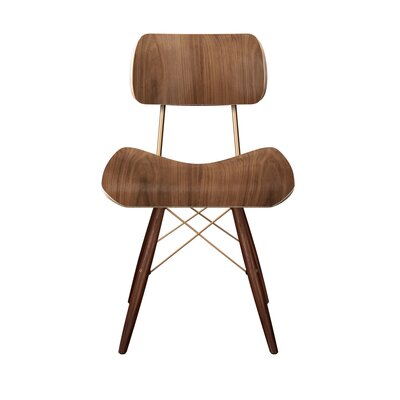 Simard Dowel Side Chair Color: Walnut/Brass