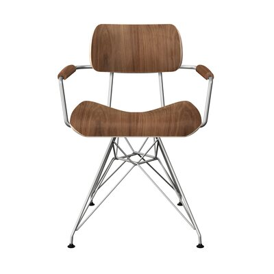 Simas Dining Chair Color: Walnut/Chrome