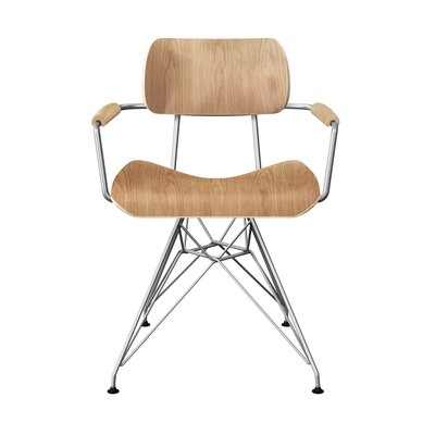 Simas Dining Chair Color: Natural/Chrome
