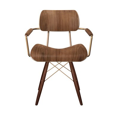 Silverstein Dowel Armchair Color: Walnut/Brass