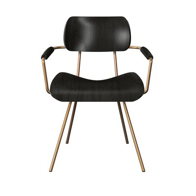 Silvey Classroom Dining Chair Color: Black/Brass