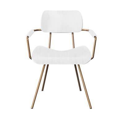 Silvey Classroom Dining Chair Color: White/Brass