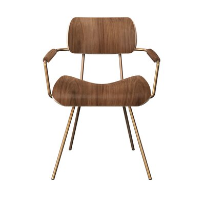Silvey Classroom Dining Chair Color: Walnut/Brass