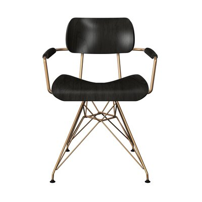 Simas Dining Chair Color: Black/Brass