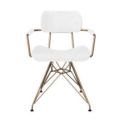 Simas Dining Chair Color: White/Brass