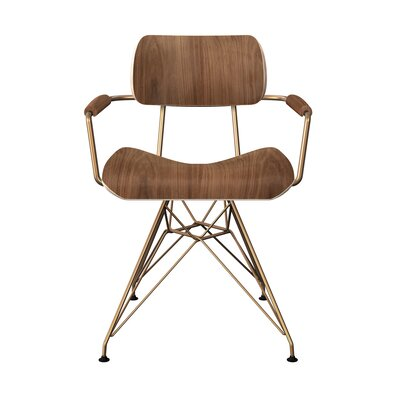 Simas Dining Chair Color: Walnut/Brass