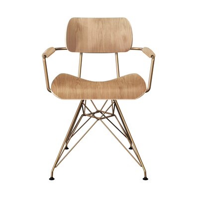 Simas Dining Chair Color: Natural/Brass