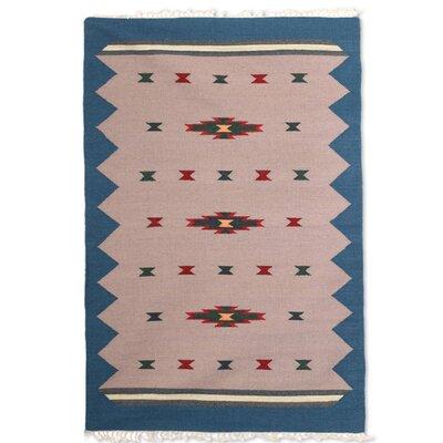 Parkhurst Azure Melody Handmade Dhurrie Wool Beige/Green Area Rug