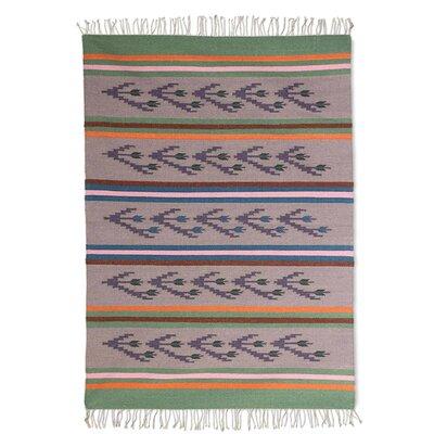Parkinson Tulip Breeze Wool Handmade Dhurrie Gray/Purple Wool Area Rug