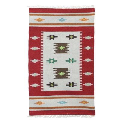 Parmelee Crimson Elegance Handmade Dhurrie Wool Red/Gray Area Rug