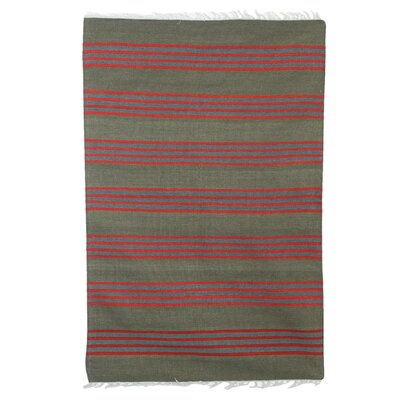 Mccumber Stripes of Life Hand Dhurrie Wool Gray/Red Area Rug