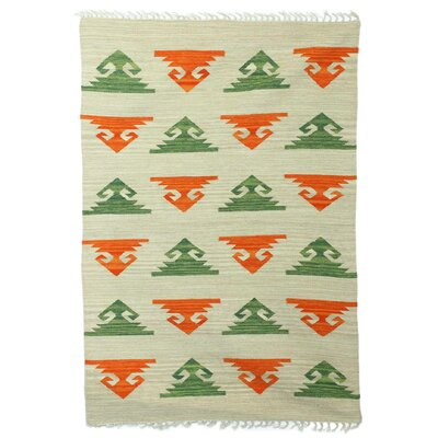 Parsley Geometric Harmony Hand Dhurrie Wool Beige Area Rug