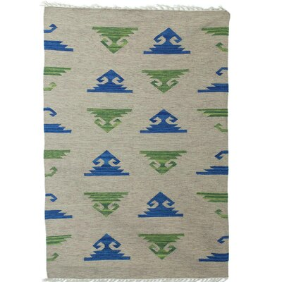 Partain Geometric Movement Hand Dhurrie Wool Gray Area Rug