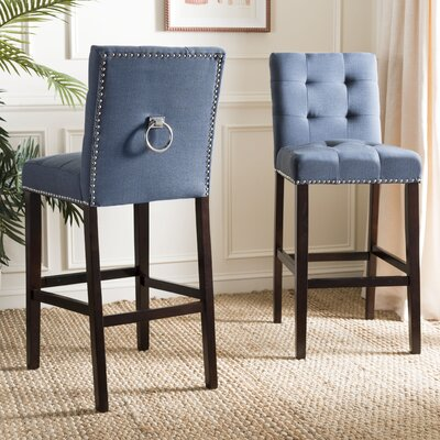 Rumi Bar Stool Upholstery: Navy