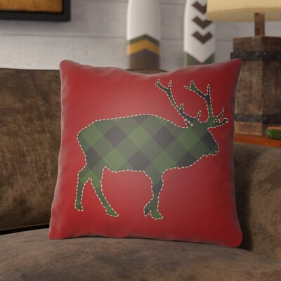Bighorn Indoor Outdoor Throw Pillow Size: 18 H x 18 W x 4 D, Color: Red/Green/Neutral