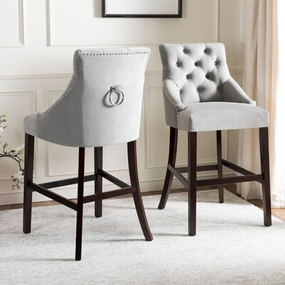 Kaczmarek Tufted Wing Back Bar Stool Upholstery: Gray