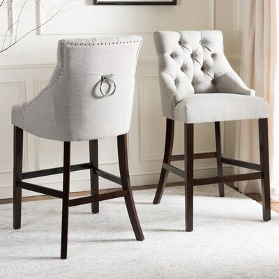 Kaczmarek Tufted Wing Back Bar Stool Upholstery: Light Gray