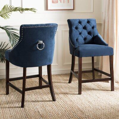 Ayansh 26 Bar Stool Upholstery: Velvet-Navy