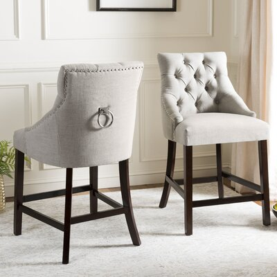 Ayansh 26 Bar Stool Upholstery: Linen-Light Gray