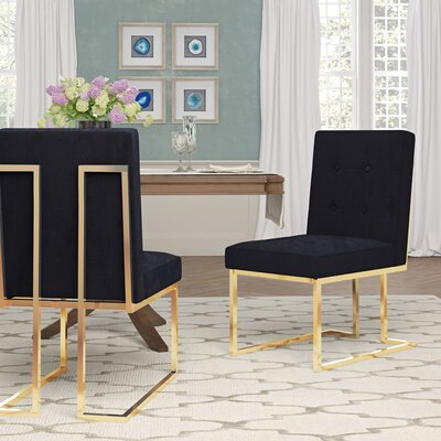 Sherri Velvet Side Chair Upholstery: Black