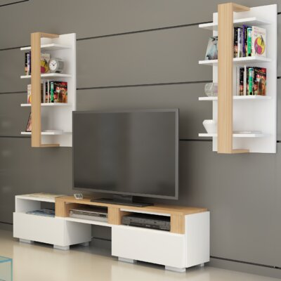 Buruni Multifunctional Entertainment Center Color: Teak/White
