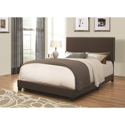 Kenworthy Upholstered Sleigh Bed Color: Brown, Size: Twin