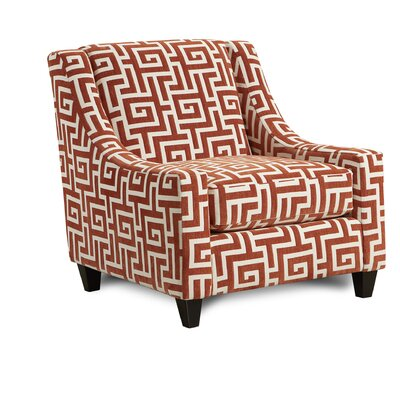 Mcnett Club Chair Upholstery: Greek Key Persimmons