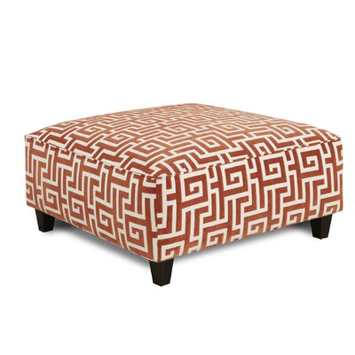 Matherly Cocktail Ottoman Upholstery : Greek Key Persimmons